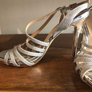 Jewel Badgley Mischka silver heels